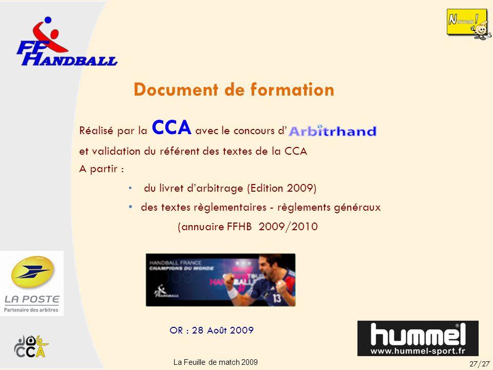 La feuille de match ELITE 26/27 La Feuille de match 2009 OR : 28 Août 2009