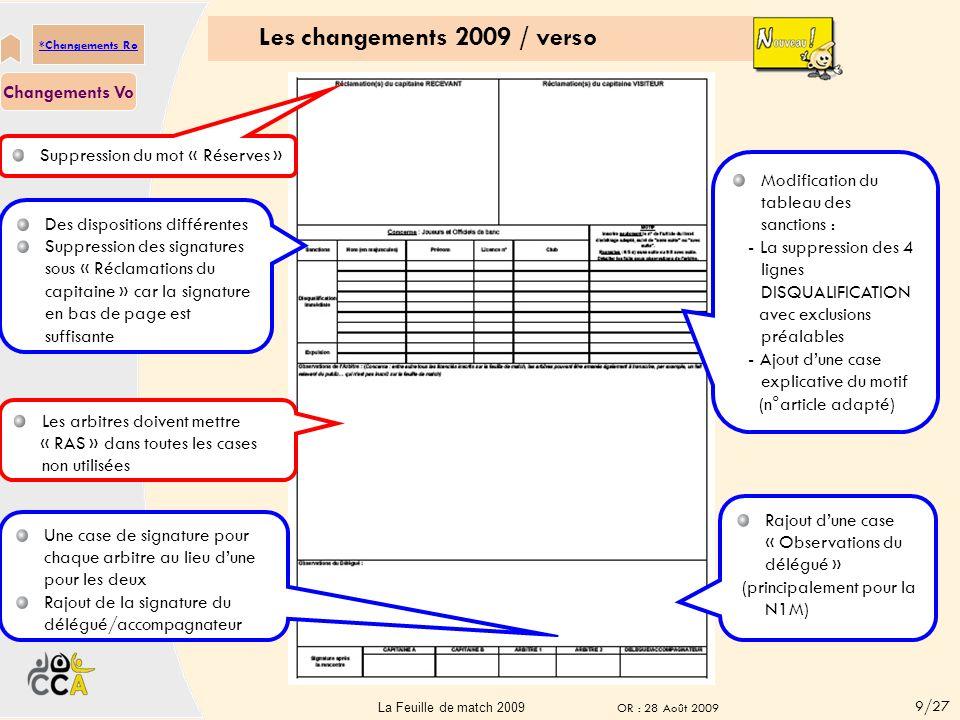 Les changements 2009 / recto Des dispositions différentes Rajout de la coupe de France Rajout du speaker Rajout du tuteur de table majeur (obligatoire