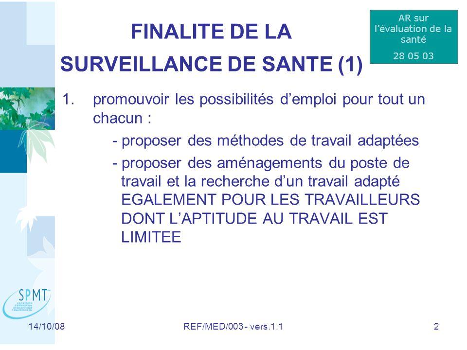 14/10/08REF/MED/003 - vers.1.133 Liste de diffusion: Interne: tout le personnel (réseau, lecteur qualité) Externe: document destiné à linformation des employeurs affiliés (DIFFUSION NON CONTROLEE ) Révision:Date:Motif:Portée: 1.0 1.1 1.2 10/06/08 14/10/08 02/04/09 Document original Précision par rapport aux texte légal Adaptation législation / Pt 5, Dia 4 Permis de conduire Gr II Vérification:Contrôle Qualité:Approbation: F.