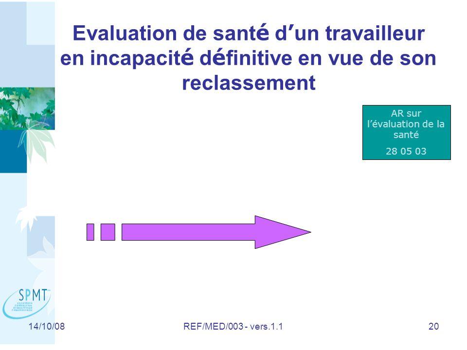 14/10/08REF/MED/003 - vers.1.120 Evaluation de sant é d un travailleur en incapacit é d é finitive en vue de son reclassement AR sur lévaluation de la santé 28 05 03