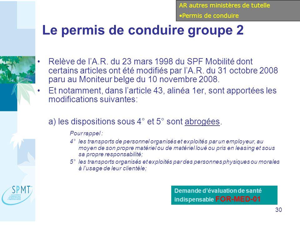 30 Le permis de conduire groupe 2 Relève de lA.R.