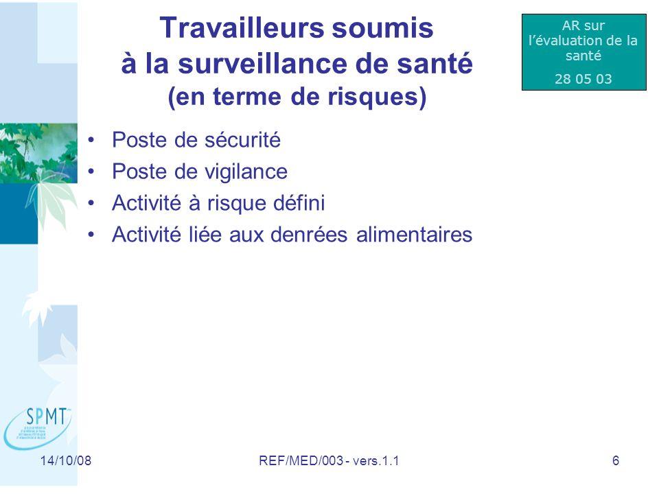 14/10/08REF/MED/003 - vers.1.117 Examen de (pré) reprise QUI.