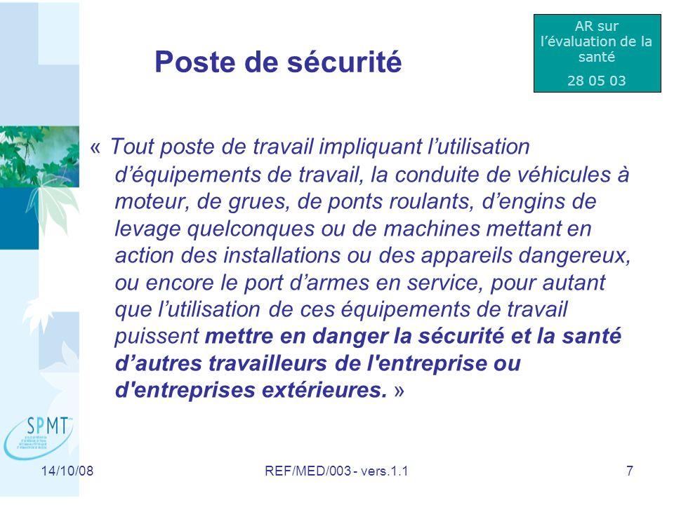 14/10/08REF/MED/003 - vers.1.118 Consultation spontanée QUI.