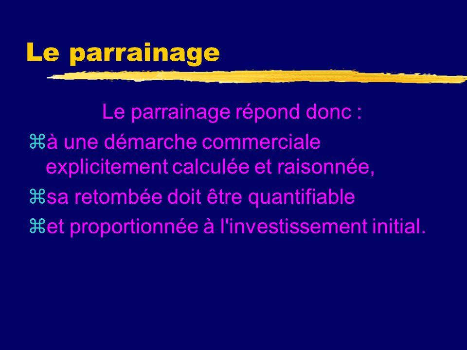 Le parrainage z Selon l article 39-I-7e du Code général des impôts (CGI), le terme de parrainage doit être réservé aux dépenses engagées dans le cadre de manifestations de caractère [...] culturel ou concourant à la mise en valeur du patrimoine artistique [...] ou à la diffusion de la culture [et] de la langue françaises, lorsquelles sont exposées dans lintérêt direct de lexploitation .