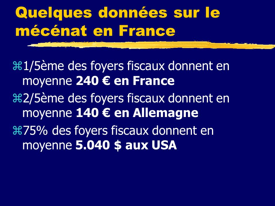 Quelques données sur le mécénat en France z1/5ème des foyers fiscaux donnent en moyenne 240 en France z2/5ème des foyers fiscaux donnent en moyenne 140 en Allemagne z75% des foyers fiscaux donnent en moyenne 5.040 $ aux USA