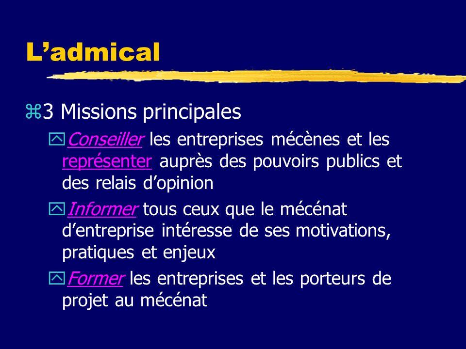 Ladmical zCest un centre ressource sur le mécénat zDepuis sa création en 1979, Admical a pour objet de promouvoir le mécénat dentreprise en France dans les domaines de la culture, de la solidarité et de lenvironnement.Depuis sa création en 1979promouvoir zSite : http://www.admical.org