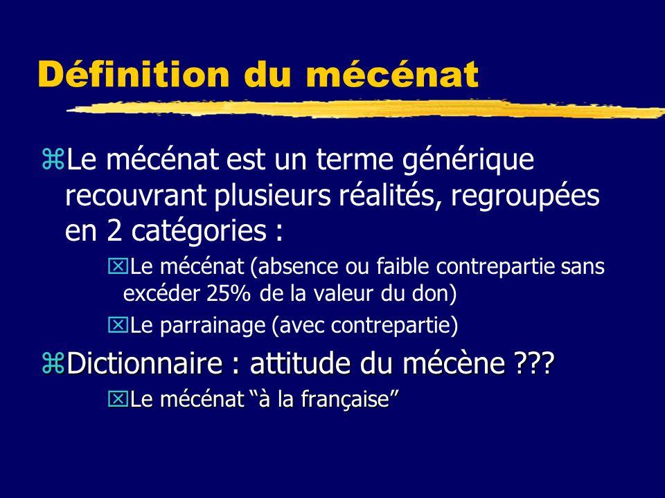 Définition du mécénat zLe mécénat est un terme générique recouvrant plusieurs réalités, regroupées en 2 catégories : xLe mécénat (absence ou faible contrepartie sans excéder 25% de la valeur du don) xLe parrainage (avec contrepartie) zDictionnaire : attitude du mécène ??.