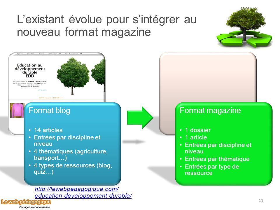 Lexistant évolue pour sintégrer au nouveau format magazine http://lewebpedagogique.com/ education-developpement-durable/ 11