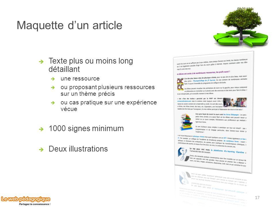 Maquette dun article Texte plus ou moins long détaillant une ressource ou proposant plusieurs ressources sur un thème précis ou cas pratique sur une e