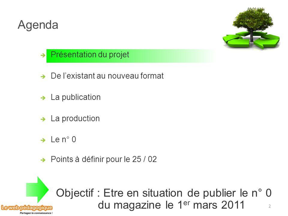 Agenda 2 Présentation du projet De lexistant au nouveau format La publication La production Le n° 0 Points à définir pour le 25 / 02 Objectif : Etre e