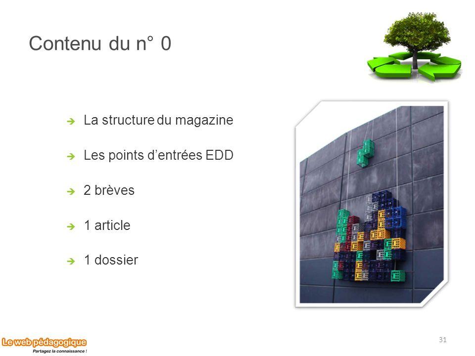 Contenu du n° 0 La structure du magazine Les points dentrées EDD 2 brèves 1 article 1 dossier 31