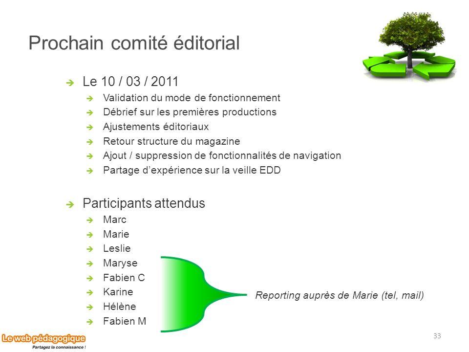 Prochain comité éditorial Le 10 / 03 / 2011 Validation du mode de fonctionnement Débrief sur les premières productions Ajustements éditoriaux Retour s
