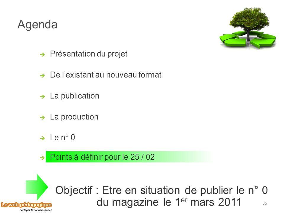Agenda 35 Présentation du projet De lexistant au nouveau format La publication La production Le n° 0 Points à définir pour le 25 / 02 Objectif : Etre