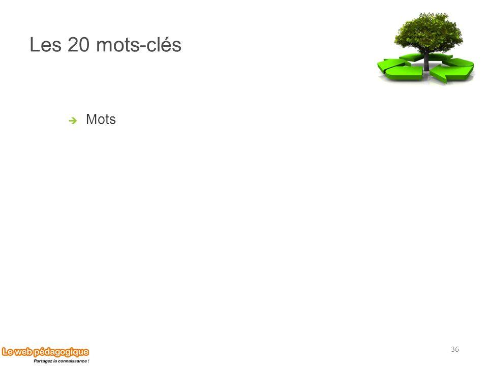 Les 20 mots-clés Mots 36
