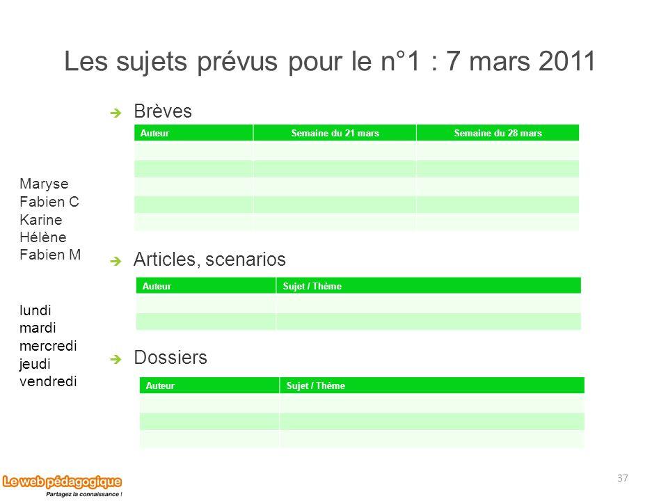 Les sujets prévus pour le n°1 : 7 mars 2011 Brèves Articles, scenarios Dossiers 37 AuteurSujet / Thème AuteurSujet / Thème Maryse Fabien C Karine Hélè