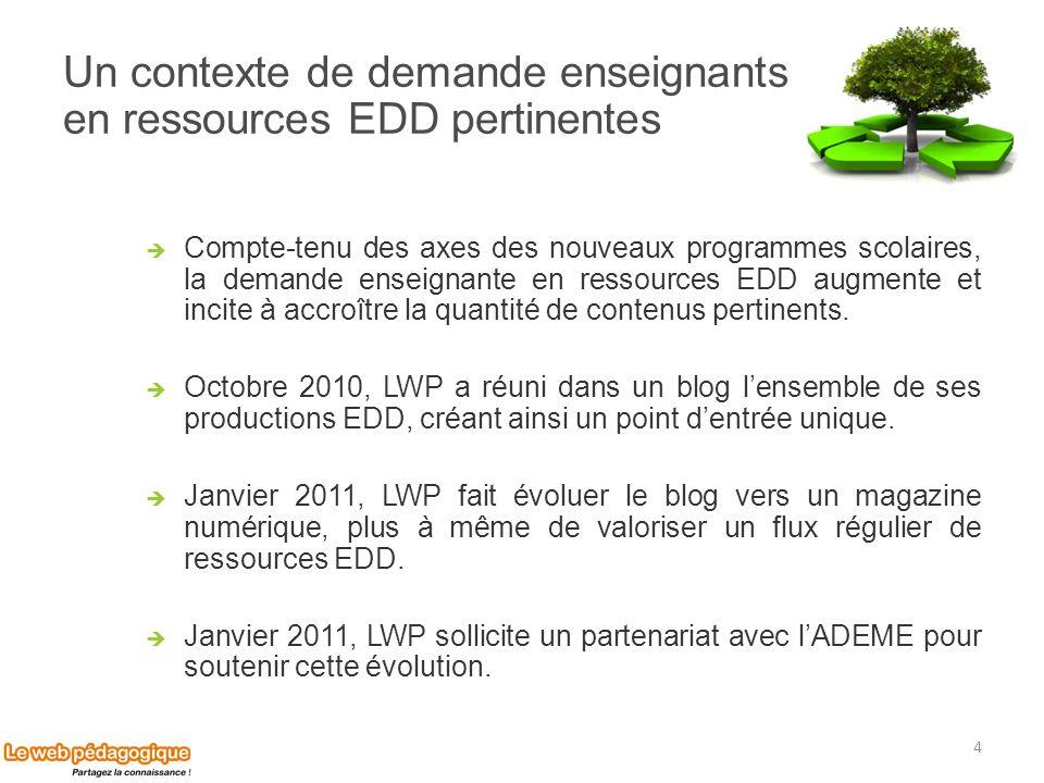 Un contexte de demande enseignants en ressources EDD pertinentes Compte-tenu des axes des nouveaux programmes scolaires, la demande enseignante en res