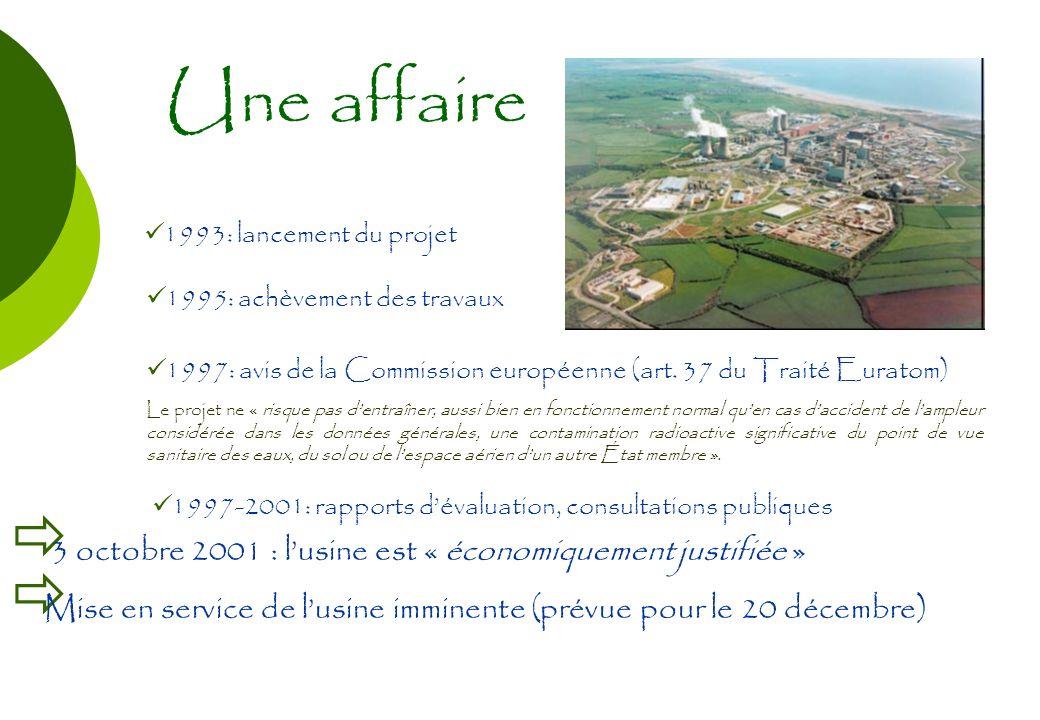 Une affaire 1993: lancement du projet 1995: achèvement des travaux 1997: avis de la Commission européenne (art. 37 du Traité Euratom) Le projet ne « r