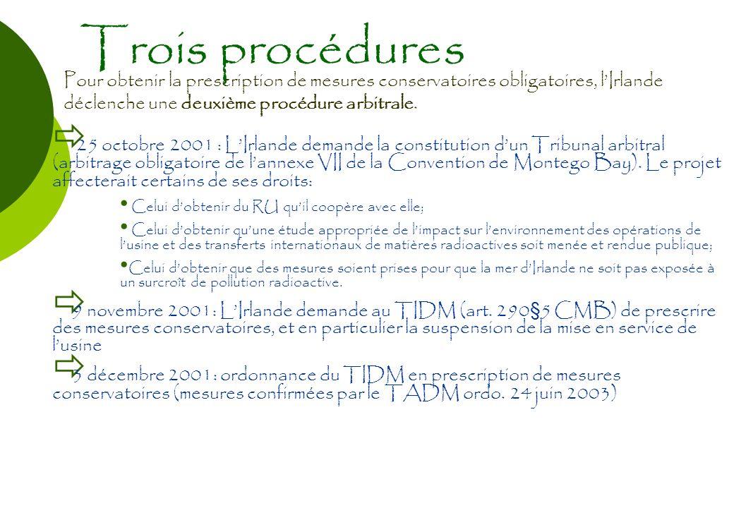 Trois procédures Pour obtenir la prescription de mesures conservatoires obligatoires, lIrlande déclenche une deuxième procédure arbitrale. 25 octobre