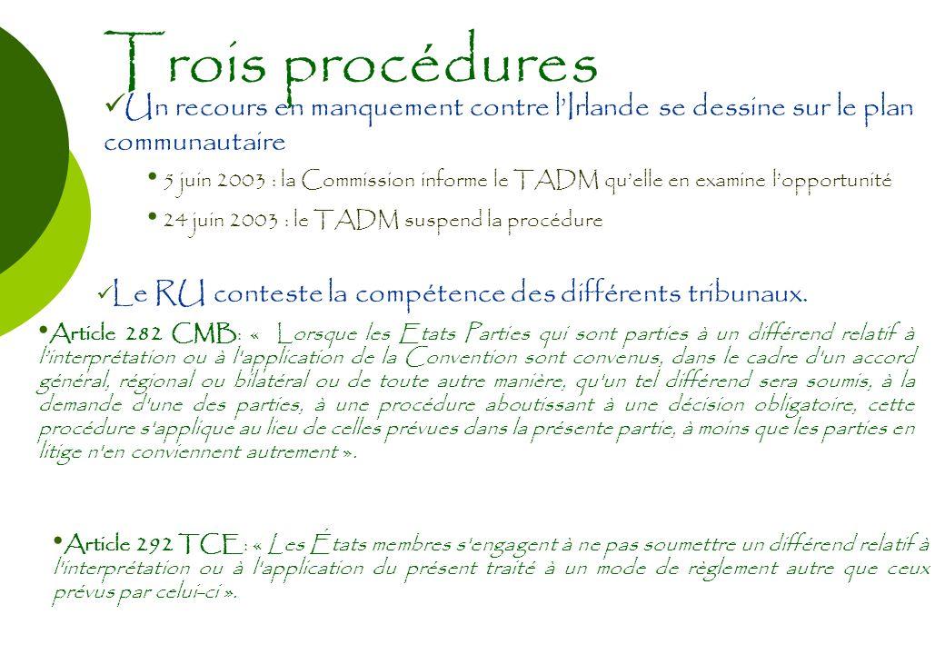 Trois procédures Un recours en manquement contre lIrlande se dessine sur le plan communautaire 5 juin 2003 : la Commission informe le TADM quelle en e