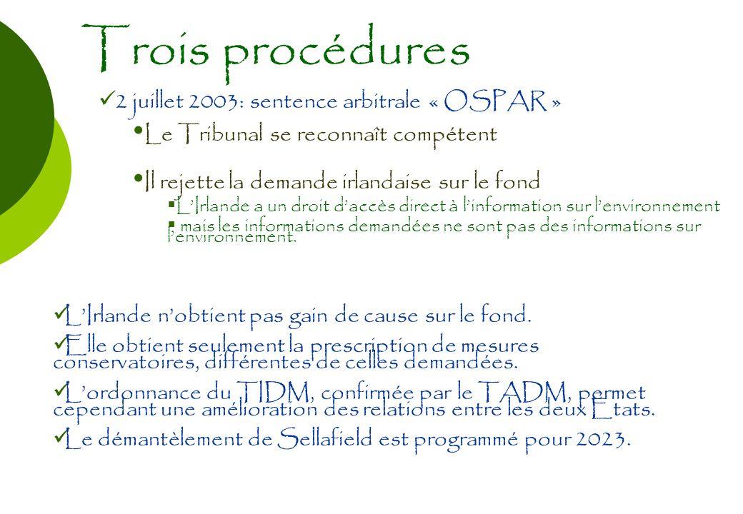 Trois procédures 2 juillet 2003: sentence arbitrale « OSPAR » Le Tribunal se reconnaît compétent Il rejette la demande irlandaise sur le fond LIrlande