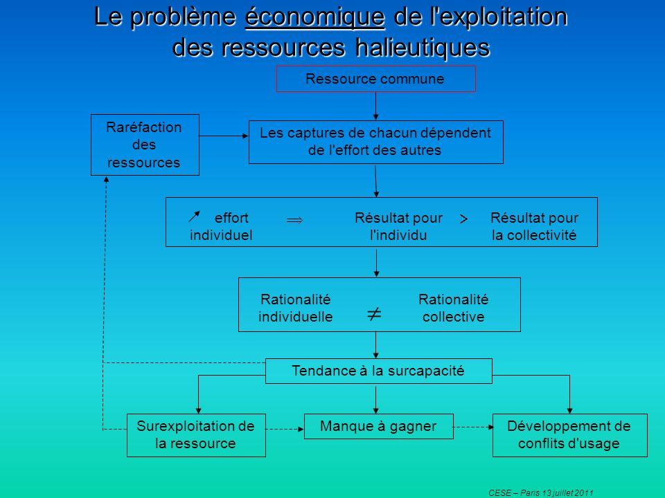 CESE – Paris 13 juillet 2011 Le problème économique de l'exploitation des ressources halieutiques Ressource commune Les captures de chacun dépendent d