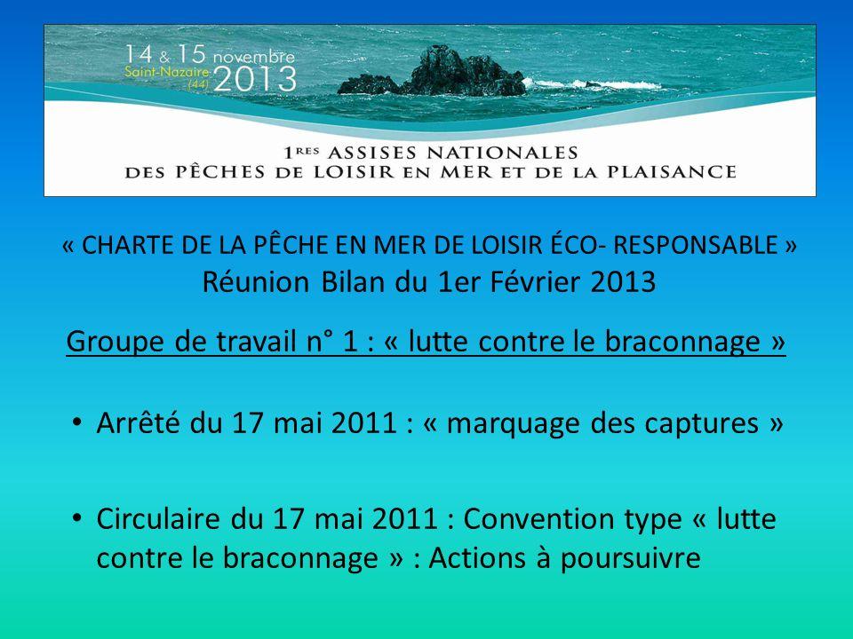 « CHARTE DE LA PÊCHE EN MER DE LOISIR ÉCO- RESPONSABLE » Réunion Bilan du 1er Février 2013 Groupe de travail n° 1 : « lutte contre le braconnage » Arr