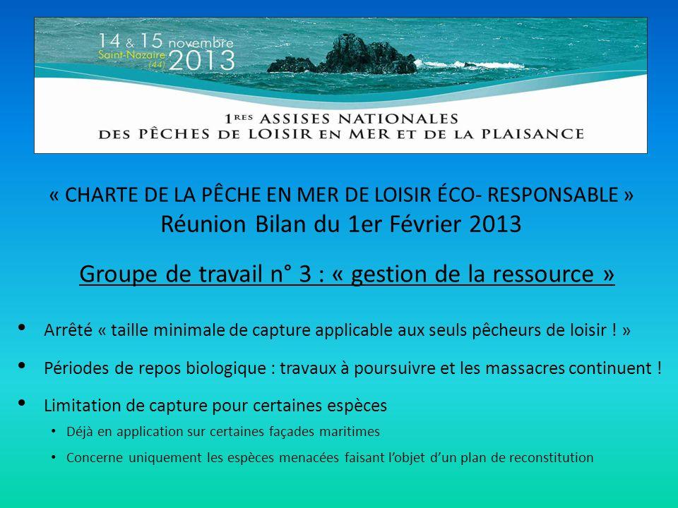« CHARTE DE LA PÊCHE EN MER DE LOISIR ÉCO- RESPONSABLE » Réunion Bilan du 1er Février 2013 Groupe de travail n° 3 : « gestion de la ressource » Arrêté