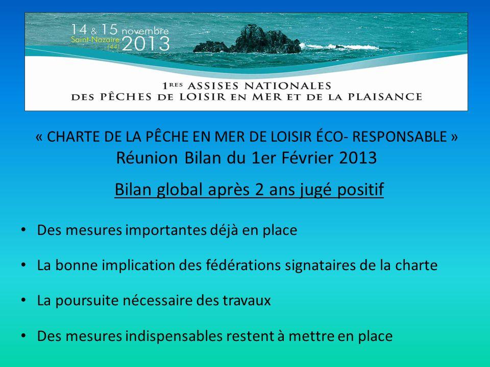 « CHARTE DE LA PÊCHE EN MER DE LOISIR ÉCO- RESPONSABLE » Réunion Bilan du 1er Février 2013 Bilan global après 2 ans jugé positif Des mesures important