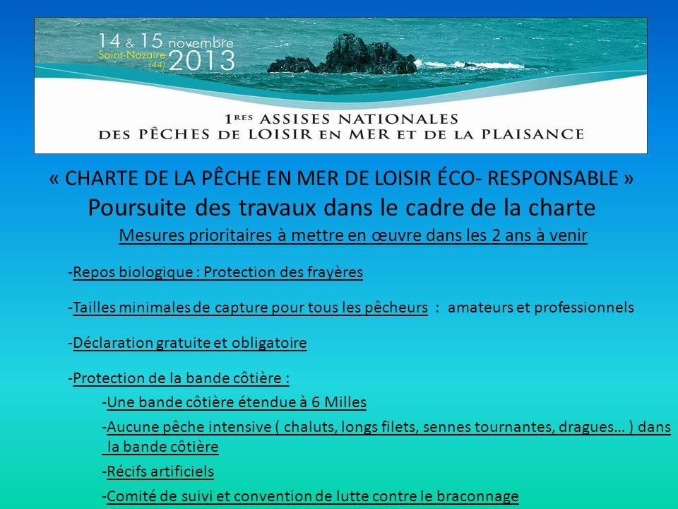 « CHARTE DE LA PÊCHE EN MER DE LOISIR ÉCO- RESPONSABLE » Poursuite des travaux dans le cadre de la charte Mesures prioritaires à mettre en œuvre dans les 2 ans à venir -Repos biologique : Protection des frayères -Tailles minimales de capture pour tous les pêcheurs : amateurs et professionnels -Déclaration gratuite et obligatoire -Protection de la bande côtière : -Une bande côtière étendue à 6 Milles -Aucune pêche intensive ( chaluts, longs filets, sennes tournantes, dragues… ) dans la bande côtière -Récifs artificiels -Comité de suivi et convention de lutte contre le braconnage
