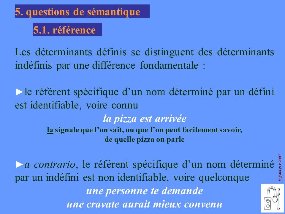 © jpmeyer 2007 5. questions de sémantique 5.1. référence Les déterminants définis se distinguent des déterminants indéfinis par une différence fondame