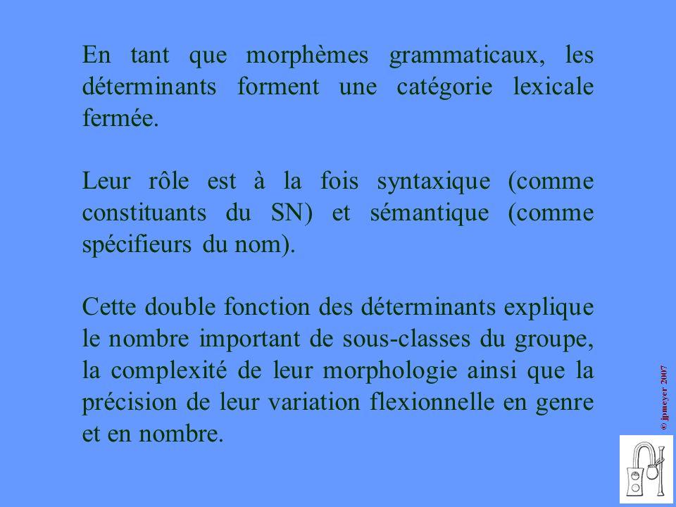 © jpmeyer 2007 Première partition la catégorie des déterminants comprend deux sous-groupes les déterminants définis les déterminants indéfinis Deuxième partition la classe des définis comprend : la classe des indéfinis comprend : les articles définis (le, la, les) les articles indéfinis (un, une, des) les déterminants démonstratifs (type ce, cette, ces) les articles partitifs (du, de la, des) les déterminants possessifs (type mon, ma, mes) les déterminants numéraux (type un, deux, trois) les déterminants complexes (type beaucoup de, plein de) les déterminants négatifs (type aucun, nul) les déterminants interrogatifs ou exclamatifs (type quel) 1.