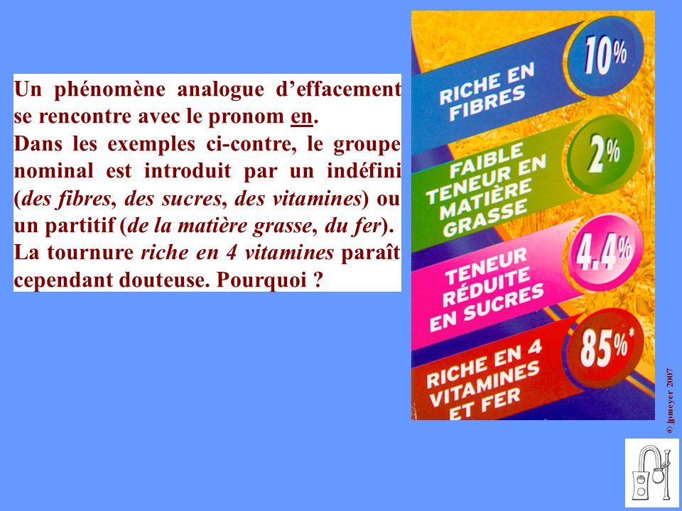 © jpmeyer 2007 Un phénomène analogue deffacement se rencontre avec le pronom en. Dans les exemples ci-contre, le groupe nominal est introduit par un i