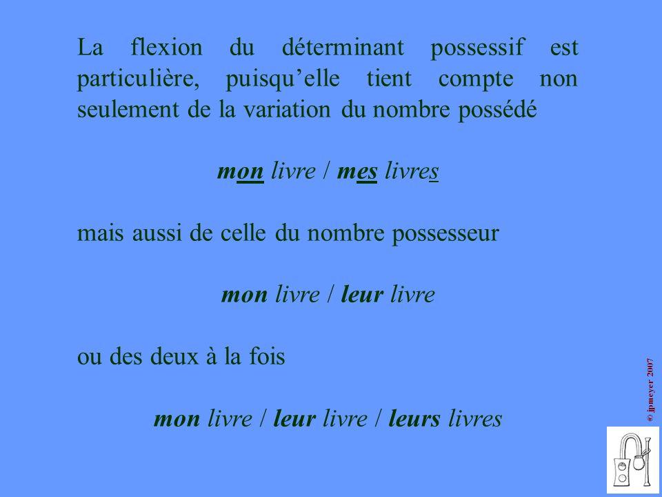 © jpmeyer 2007 La flexion du déterminant possessif est particulière, puisquelle tient compte non seulement de la variation du nombre possédé mon livre