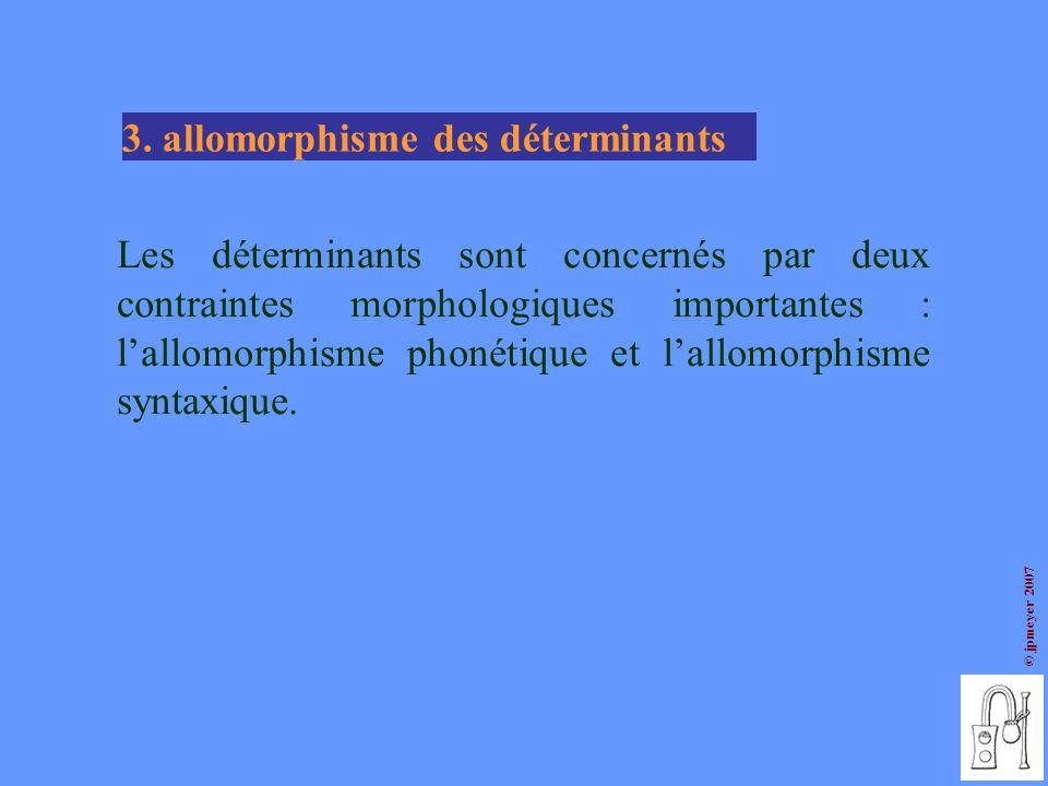 © jpmeyer 2007 Les déterminants sont concernés par deux contraintes morphologiques importantes : lallomorphisme phonétique et lallomorphisme syntaxiqu