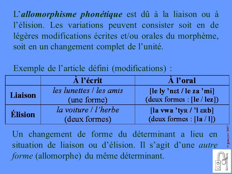 © jpmeyer 2007 Lallomorphisme phonétique est dû à la liaison ou à lélision. Les variations peuvent consister soit en de légères modifications écrites