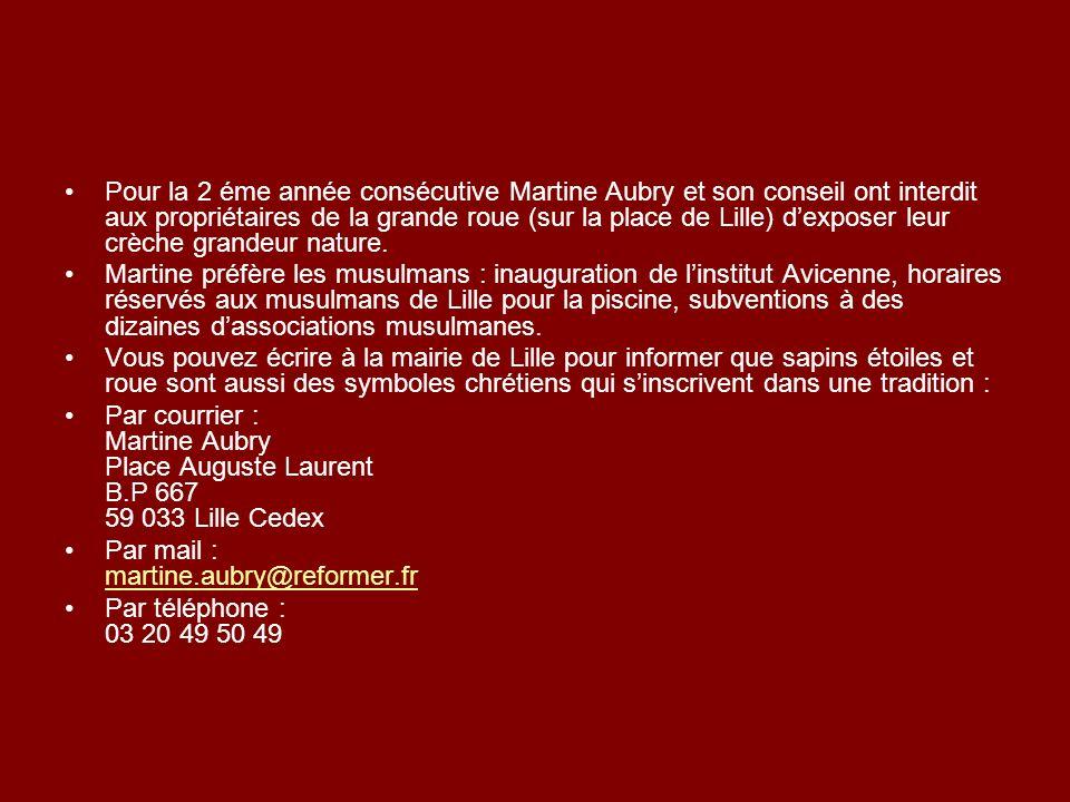 Pour la 2 éme année consécutive Martine Aubry et son conseil ont interdit aux propriétaires de la grande roue (sur la place de Lille) dexposer leur cr