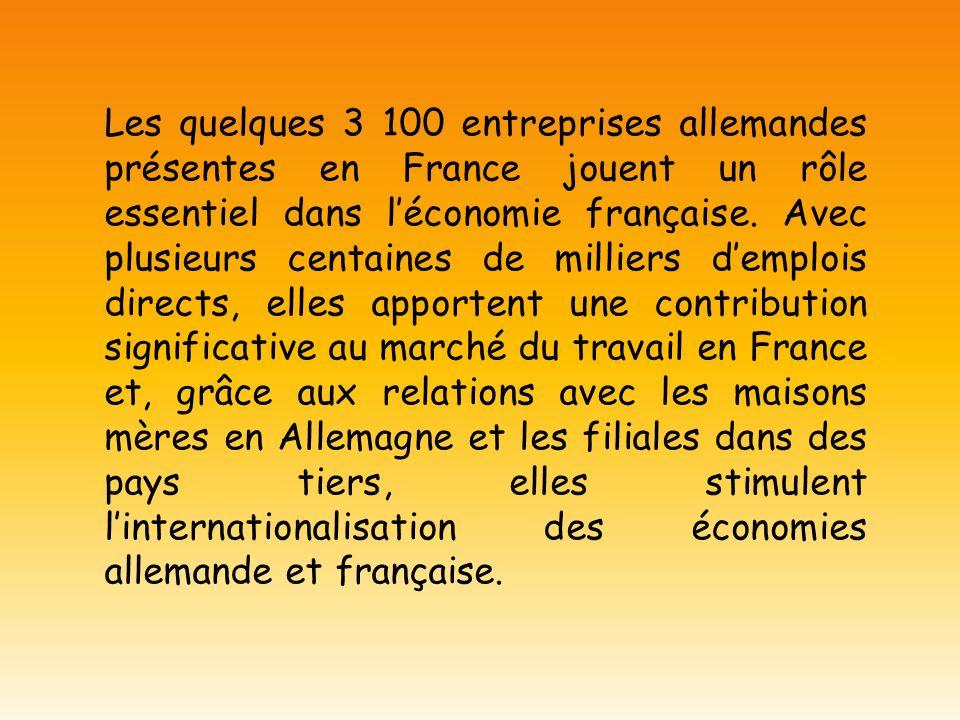 Les quelques 3 100 entreprises allemandes présentes en France jouent un rôle essentiel dans léconomie française. Avec plusieurs centaines de milliers