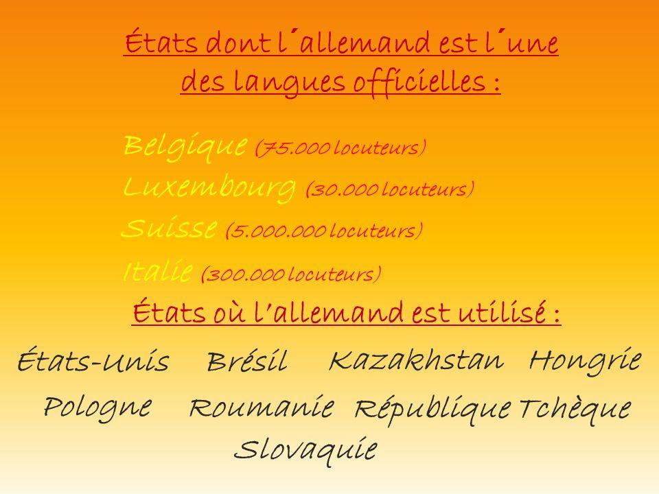 États dont l´allemand est l´une des langues officielles : États où lallemand est utilisé : Italie (300.000 locuteurs) Belgique (75.000 locuteurs) Luxe