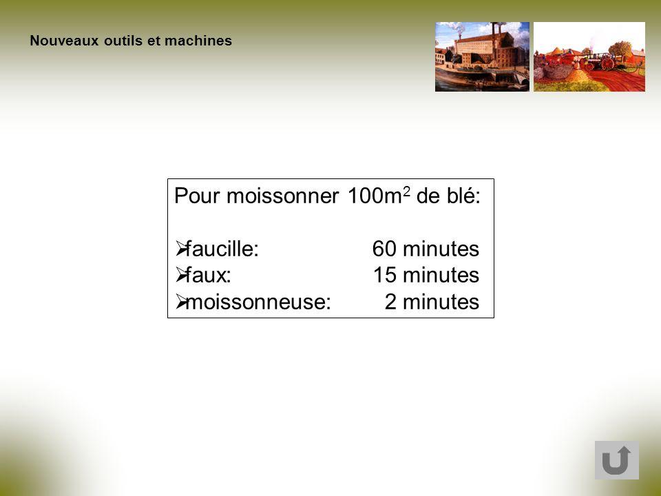 Pour moissonner 100m 2 de blé: faucille:60 minutes faux:15 minutes moissonneuse: 2 minutes Nouveaux outils et machines