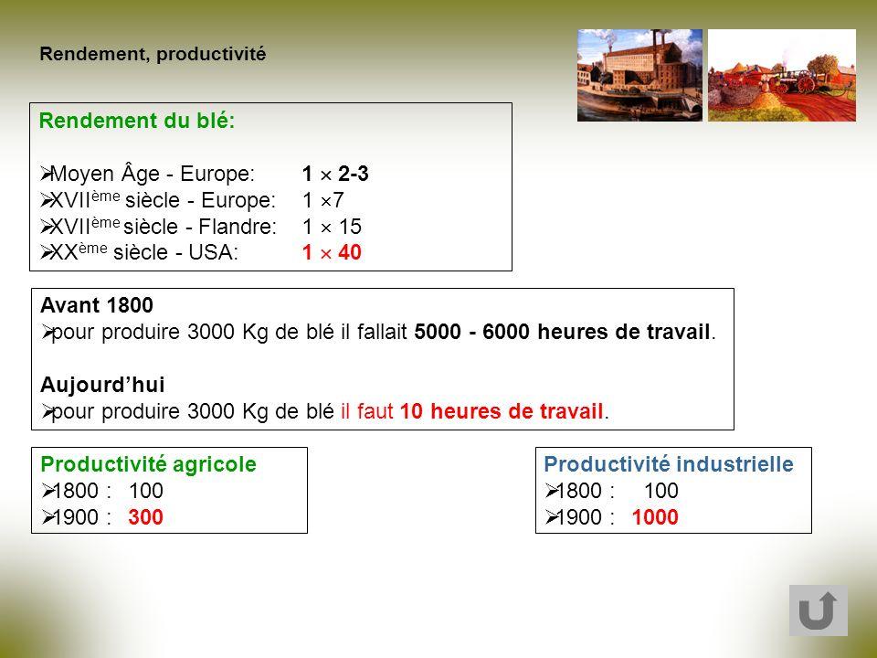 Rendement, productivité Avant 1800 pour produire 3000 Kg de blé il fallait 5000 - 6000 heures de travail. Aujourdhui pour produire 3000 Kg de blé il f