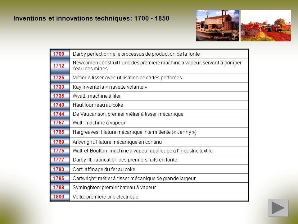 Inventions et innovations techniques: 1700 - 1850 1709Darby perfectionne le processus de production de la fonte 1712 Newcomen construit lune des premi