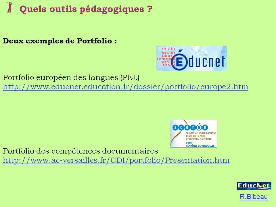 Deux exemples de Portfolio : Portfolio européen des langues (PEL) http://www.educnet.education.fr/dossier/portfolio/europe2.htm Portfolio des compéten