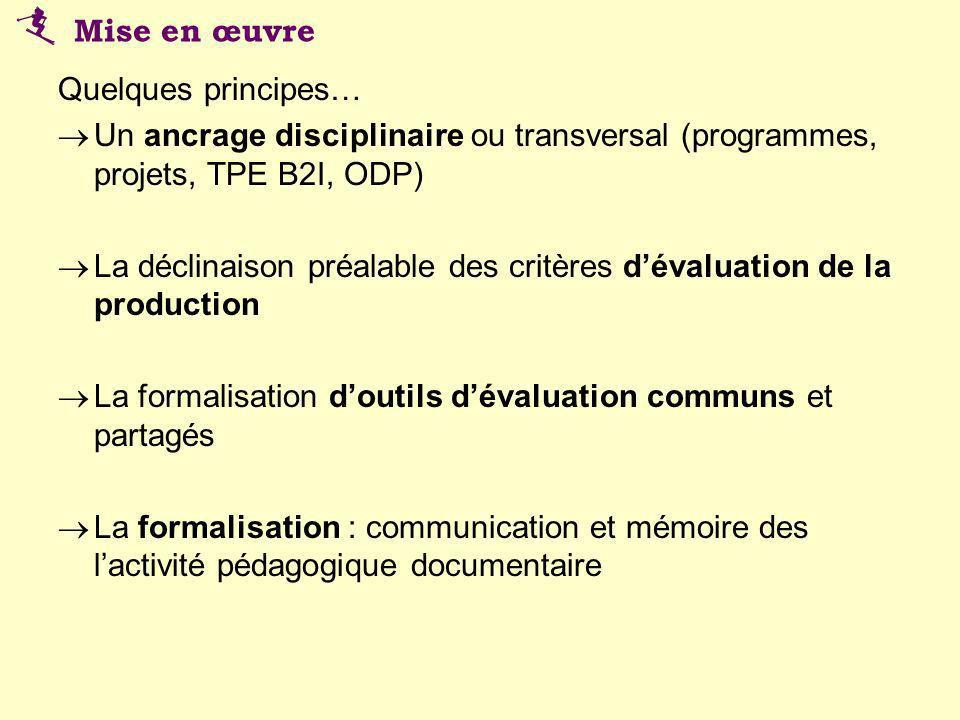 Quelques principes… Un ancrage disciplinaire ou transversal (programmes, projets, TPE B2I, ODP) La déclinaison préalable des critères dévaluation de l