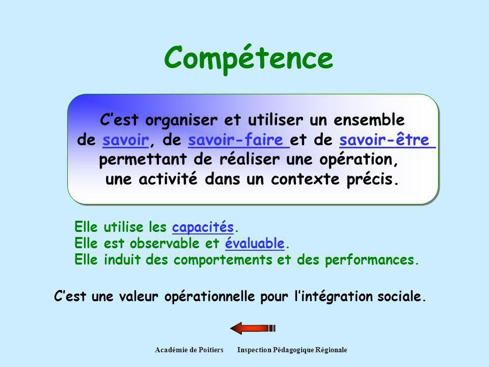 Compétence Cest organiser et utiliser un ensemble de savoir, de savoir-faire et de savoir-être permettant de réaliser une opération, une activité dans