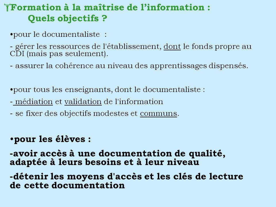 pour le documentaliste : - gérer les ressources de l'établissement, dont le fonds propre au CDI (mais pas seulement). - assurer la cohérence au niveau