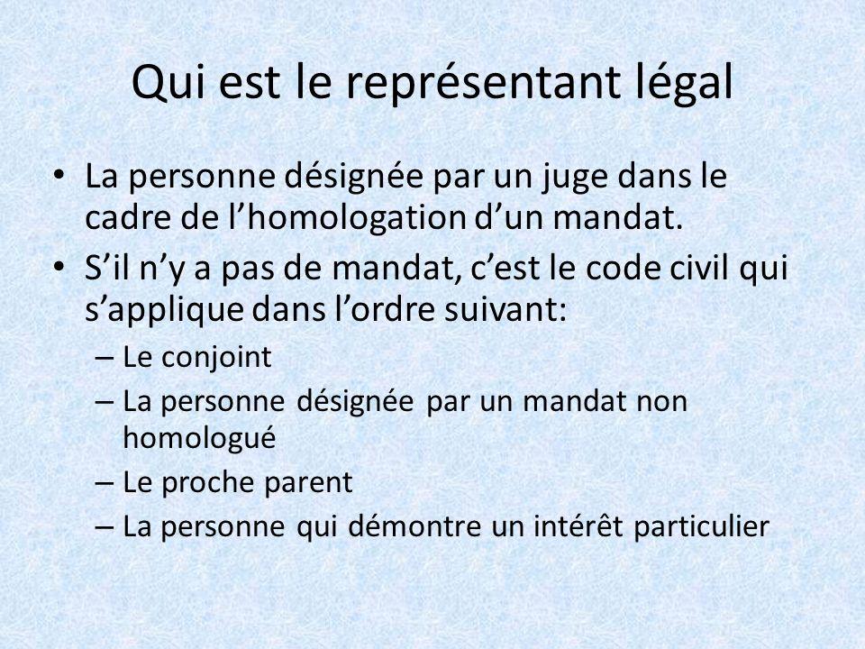 Qui est le représentant légal La personne désignée par un juge dans le cadre de lhomologation dun mandat.