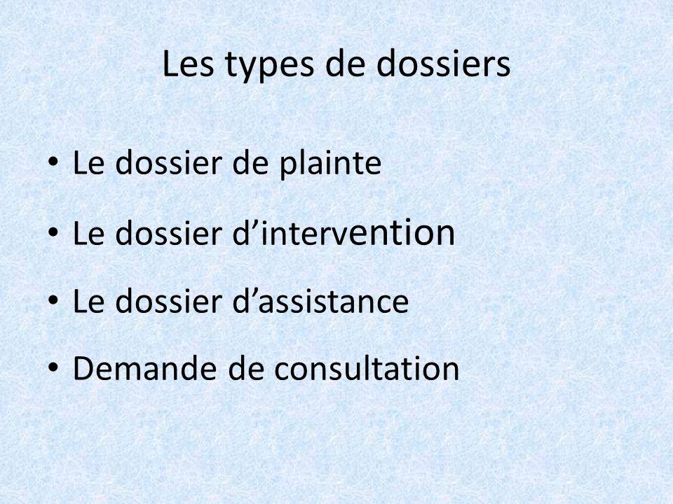 Les types de dossiers Le dossier de plainte Le dossier dinterv ention Le dossier dassistance Demande de consultation