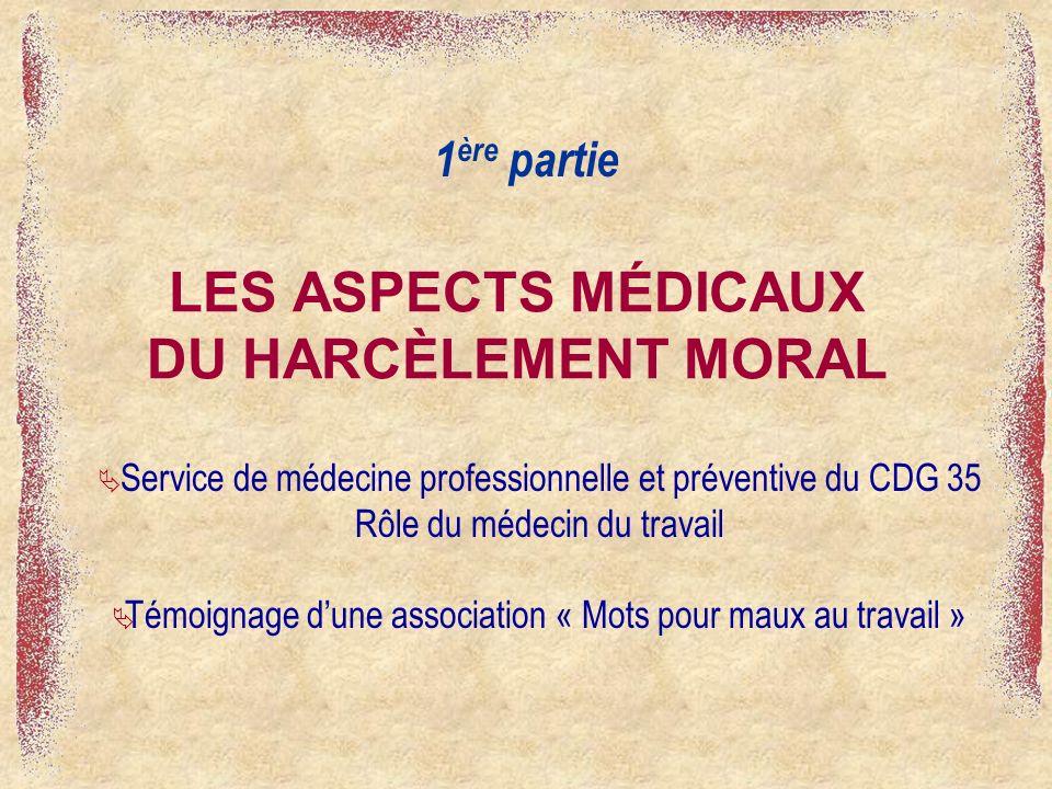 LES ASPECTS MÉDICAUX DU HARCÈLEMENT MORAL 1 ère partie Service de médecine professionnelle et préventive du CDG 35 Rôle du médecin du travail Témoignage dune association « Mots pour maux au travail »