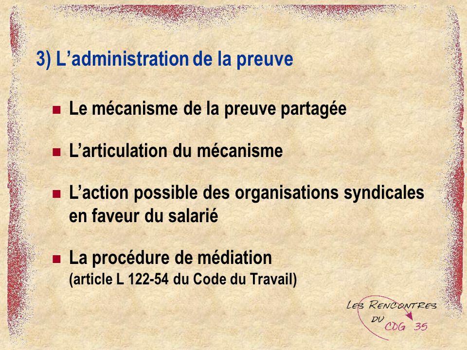 3) Ladministration de la preuve Le mécanisme de la preuve partagée Larticulation du mécanisme Laction possible des organisations syndicales en faveur du salarié La procédure de médiation (article L 122-54 du Code du Travail)