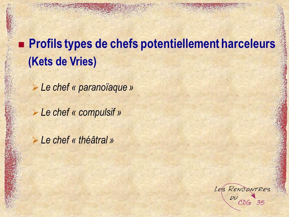 Profils types de chefs potentiellement harceleurs (Kets de Vries) Le chef « paranoïaque » Le chef « compulsif » Le chef « théâtral »